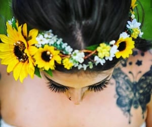 bride, flowers, and fiel image