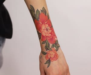 art, colored tattoo, and flower tattoo image