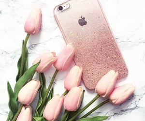 iphone, pink, and tulip image