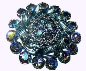 etsy, rhinestone brooch, and blue gray pin image