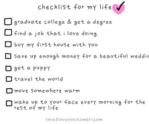 life, checklist, and text image
