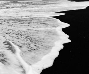 sea, black and white, and beach image