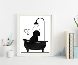 etsy, dog art print, and doodle dog bathing image