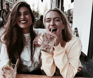 girl, drink, and friends image