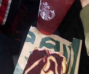 bread, drink, and starbucks image