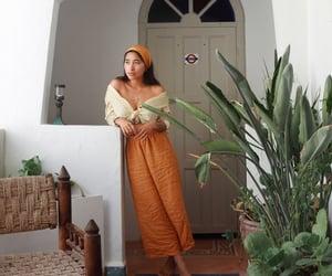 headband, orange, and pants image