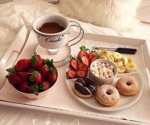 food, strawberry, and donuts image