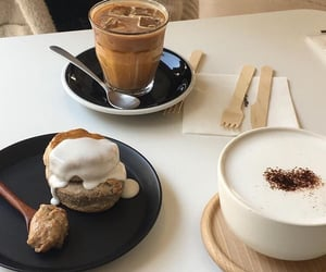 cake, cream, and coffee image