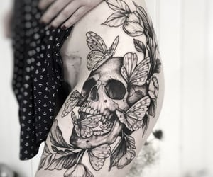 black, butterflies, and ink image