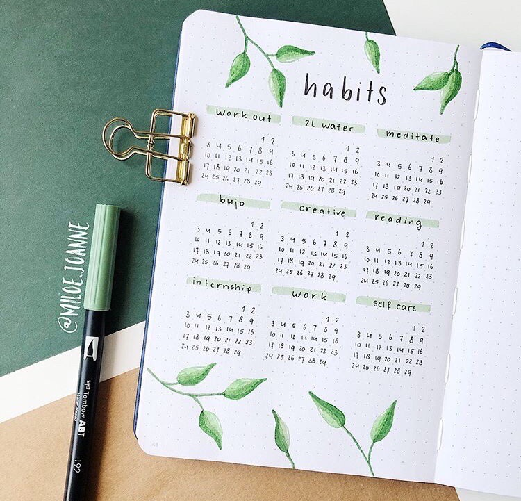 green, leaves, and bullet journal image