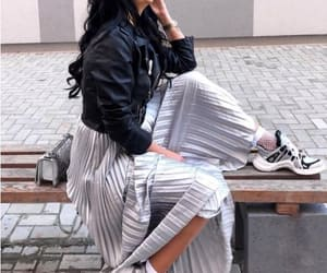 pleated silver skirt image