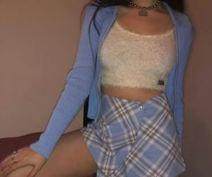 outfit, blue, and style image
