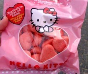 hello kitty, pink, and food image