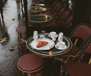 cafe, paris, and rain image
