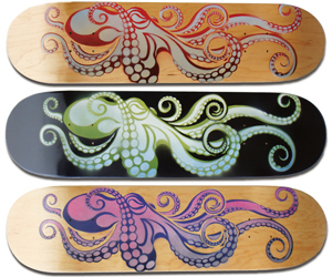 art, octopus, and skateboard image