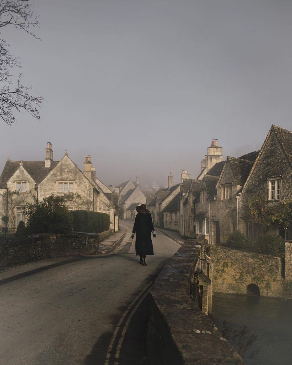 bridge, cottage, and fog image