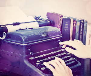 book, typewriter, and hands image