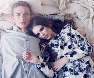 model, couple, and bed image