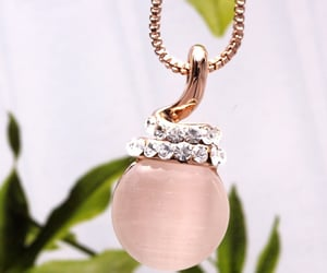 rose gold necklace, for girls women, and 水晶珠寶首飾吊飾禮物necklaces image
