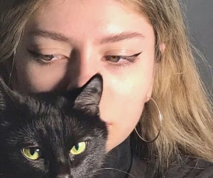 girl, aesthetic, and cat image