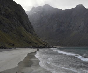 mountains, beach, and theme image