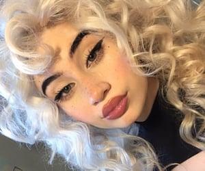 big lips, eyebrows, and eyeliner image