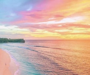 sunset, travel, and beach image
