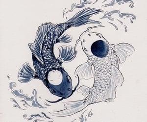 fish, art, and white image