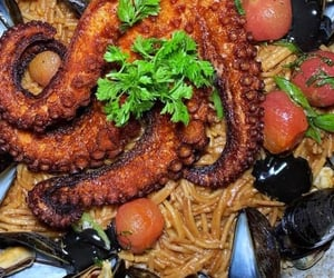 mussels, pasta, and octopus image