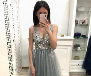 v neck, new a line, and grey prom dresses image