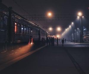train, night, and light image
