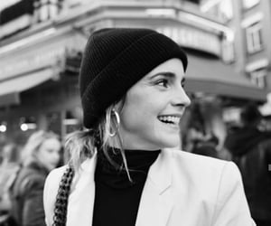 emma watson, black and white, and girl image