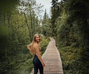 blonde girl, tripe, and nature image