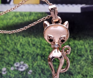 rose gold necklace, for girls women, and cat eye stone image