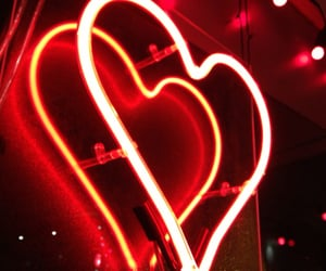 red, heart, and neon image