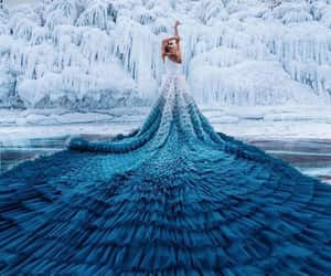 blue, dress, and snow image