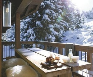 breakfast, house, and snow image