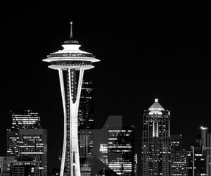 black and white photography, Space Needle, and cityview image