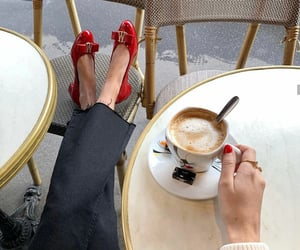 cafe, coffee, and red shoes image