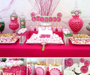 hello kitty, pink, and party image