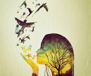 bird, art, and tree image