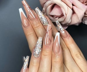 glitter, nails, and Nude image