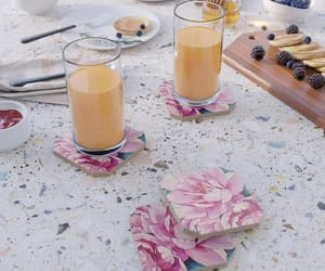 pink petals, trays, and coasters image
