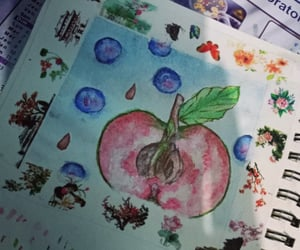 apple, drawing, and green apple image