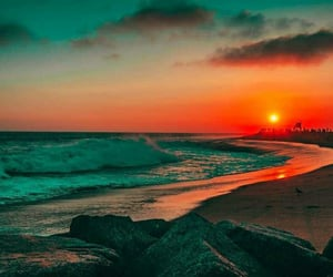 ocean, photography, and sunset image