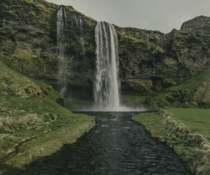 nature, iceland, and waterfall image