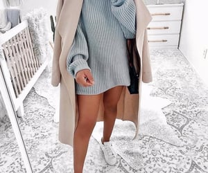 beige, blue, and outfit image