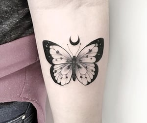 butterfly, moon, and tattoo image