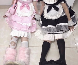 maid, pink, and dress image