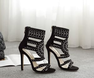 ankle strap, rhinestone, and street wear image